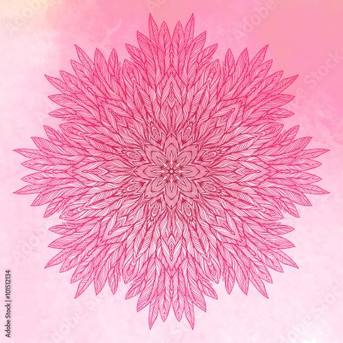 pink mandala, a circular pattern on a pink background, vector illustration Canvas Print
