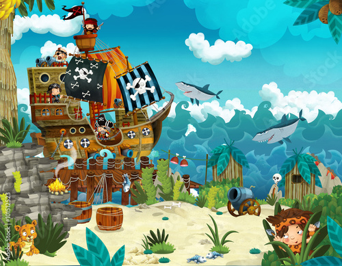 Cartoon illustration - pirates on the wild island - illustration for the childre Wallpaper Mural