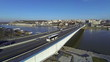 Aerial view of traffic over Branko's bridge in Belgrade Serbia. Panoramic view confluence of the rivers Sava and Danube