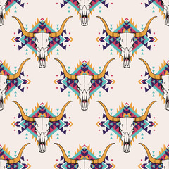 FototapetaVector tribal seamless pattern with bull skull and decorative ethnic ornament. Boho style. American indian motifs.