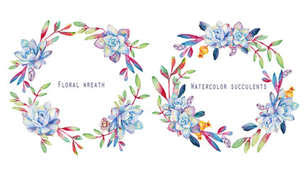 Set of round floral frames. Watercolor blue succulents. Floral greeting card. Can be used for any design.