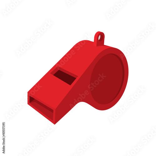 Photo  Red whistle cartoon icon