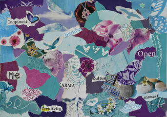 FototapetaAtmosphere color aqua, blue, purple and pink serenity mood board collage sheet made of teared magazine paper with zen figures, letters, colors and textures, results in art