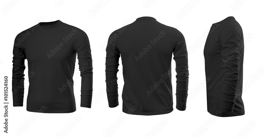 Fototapeta Black men's T-shirt with long sleeves with rear and side views on a white background