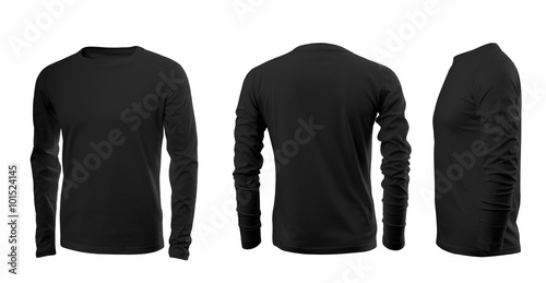Fényképezés  Black men's T-shirt with long sleeves with rear and side views on a white backgr
