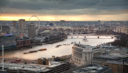 Panoramic view City of London at sunset Canvas Print