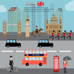 Fototapeta Londyn London city capital of England Great Britain vector illustratio