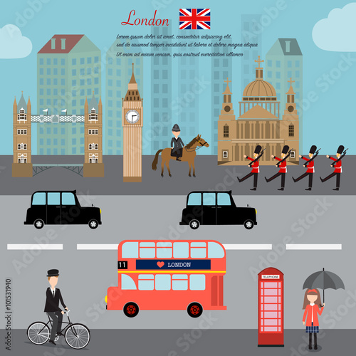 London city  capital of England Great Britain vector illustratio - 101531940