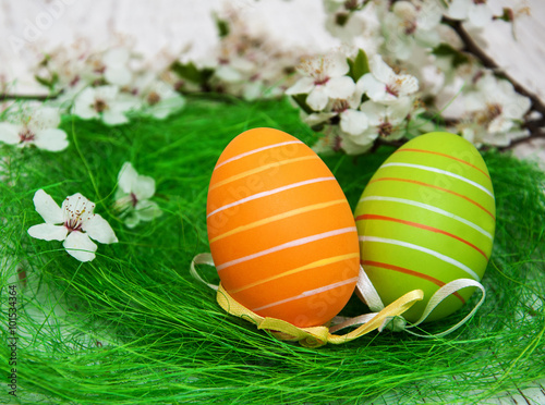 Easter eggs and cherries blossom - 101534364