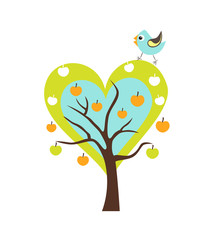 Naklejka Do pokoju dziecka Heart tree with Singing Bird. Stylized happy cartoon illustration. Flat color vector design. Child theme.