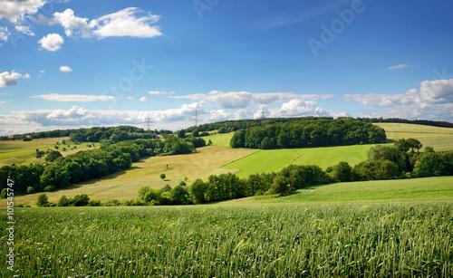 Foto op Plexiglas Landschappen Saarland – Landschaft mit Roggenfeld – Kulturlandschaft bei Heusweiler Eiweiler im Sommer