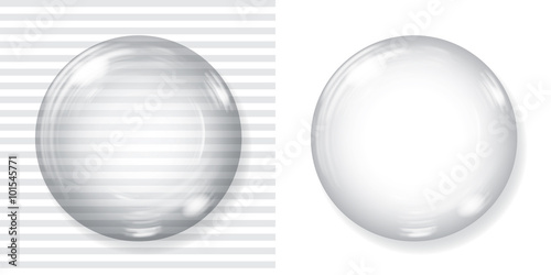 Foto op Aluminium Bol Big transparent glass sphere and opaque white sphere with glares and shadow. Transparency only in vector file