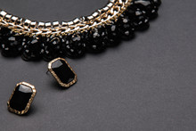Necklace  And Earrings With Black Stones
