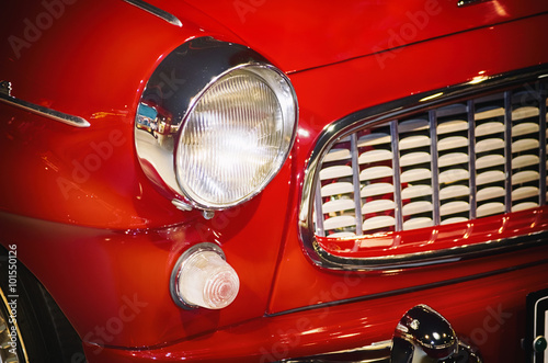 Photo  Red Car Headlight
