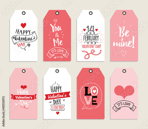 valentines day gift cards labels and stickers template for