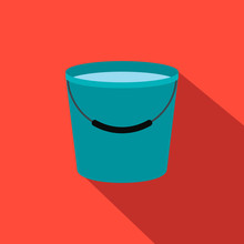 Bucket Full Of Water Flat Icon