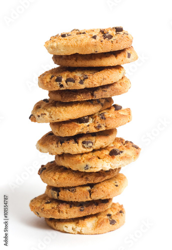 In de dag Koekjes Stack of cookies isolated on white background