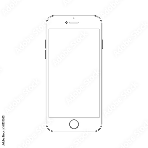 Outline drawing smartphone. Elegant thin line style design.