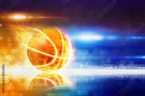 Photo  Hot burning basketball