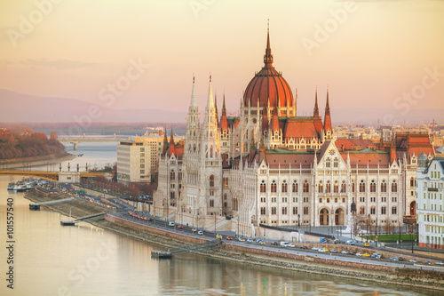Canvas Print Parliament building in Budapest, Hungary