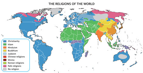 Fototapeta na wymiar Religions of the world on map. Fully editable vector graphics.
