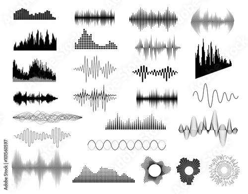 Cuadros en Lienzo  Sound waves set