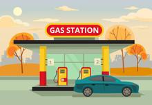 Petrol Gas Station. Vector Flat Illustration