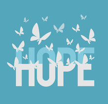 Hope Inscription. Vector Flat ...