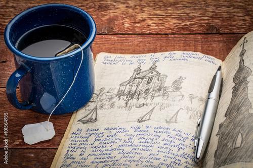 Fotografie, Obraz  writing travel journal
