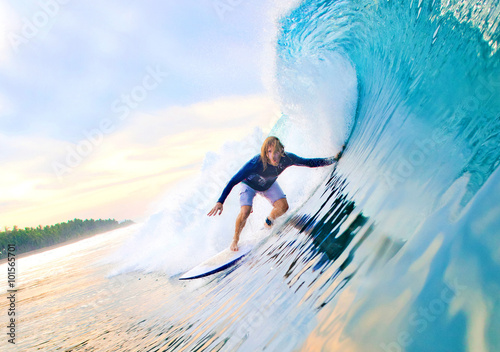 Surfer on a wave Wallpaper Mural