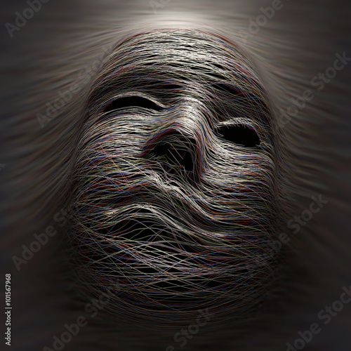 Photo  Colored lines covering an imaginary face with expression of pain and agony