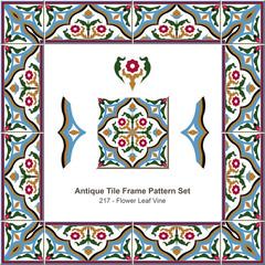 Antique tile frame pattern set_217 Flower Leaf Vine