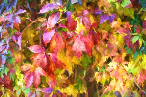 Digital structure of painting. Painted autumn leaves. - 101569564