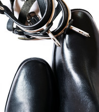 Horse Riding  Dressage Boots And Spurs Isolated On White. Close