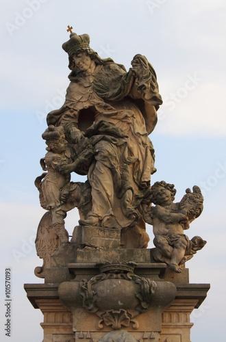 Plakat Świętego Ludmila statua w Praga, republika czech