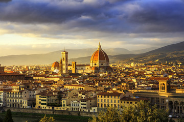 Fototapeta Toskania Florence or Firenze, Duomo Cathedral landmark. Sunset view from