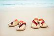 Summer vacation concept. Flip flops on a sandy ocean beach.