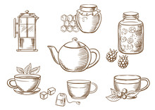 Tea Icons With Jam, Honey, Cup...
