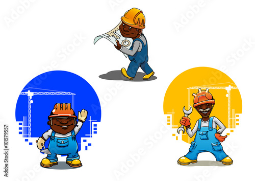 Fotobehang Indiërs Cartoon builder, bricklayer and engineer