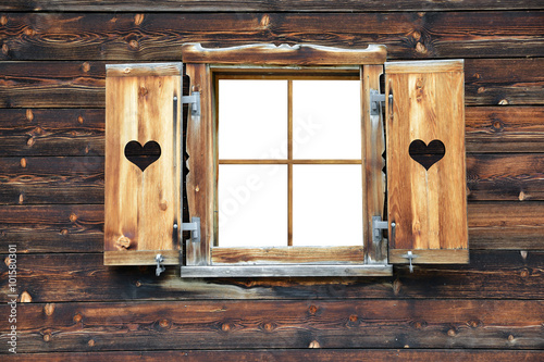 Open old wooden window with Shutter