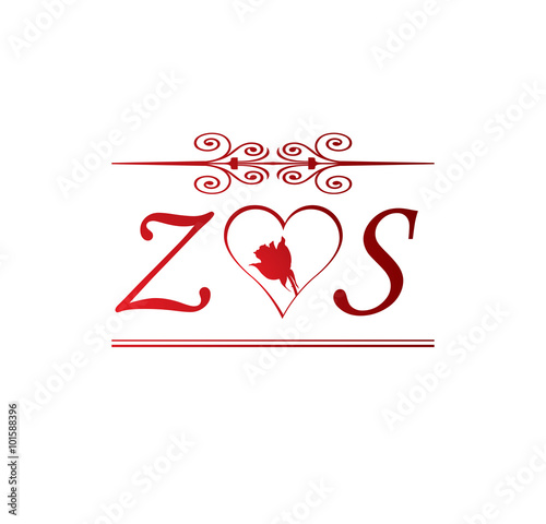 Zs Love Initial With Red Heart And Rose Buy This Stock Vector