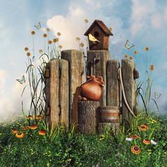 Fototapeta Fantasy drewniany płot z domkiem dla ptaków, kwiatami i motylami