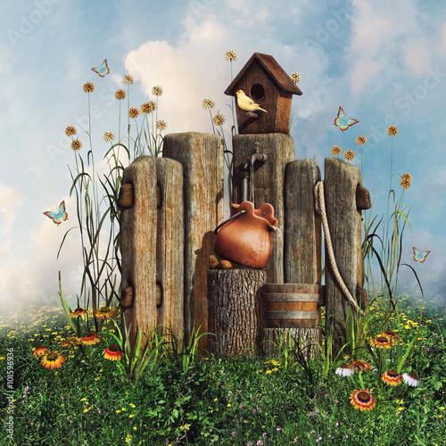 drewniany płot z domkiem dla ptaków, kwiatami i motylami - 101596936