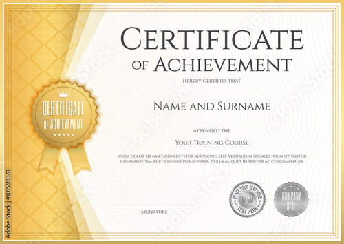 Photo  Certificate of achievement template in vector with applied Thai