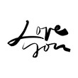 Calligraphic inscription. Love. Valentine's Day. Greeting card.