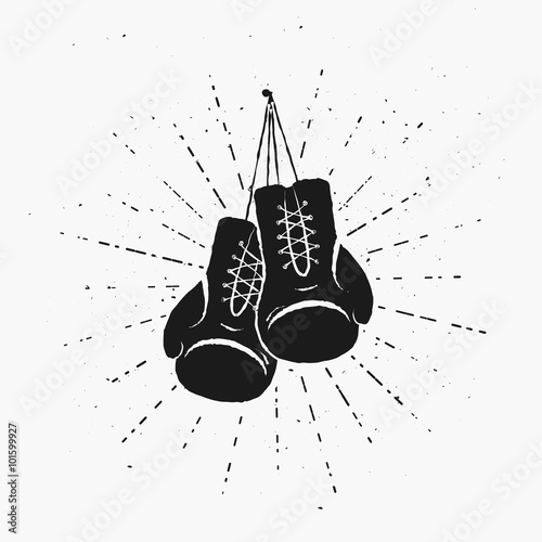 vintage boxing gloves hanging nailed to something vector