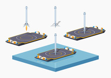 Landing Space Barge. 3D Lowpoly Isometric Vector Illustration. The Set Of Objects Isolated Against The White Background And Shown From One Side