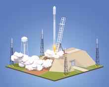 Launch Of The Modern Space Rocket. 3D Lowpoly Isometric Vector Concept Illustration Suitable For Advertising And Promotion