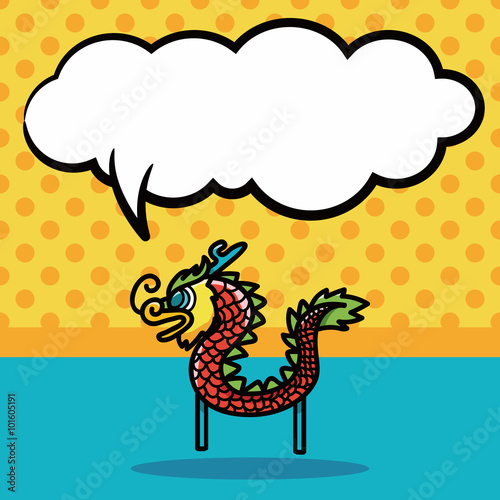 chinese new year dragon and lion dancing head doodle speech bubble