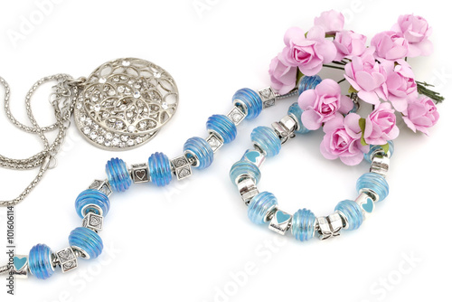 Pandora bracelet and beads, modern fashion jewelry Poster